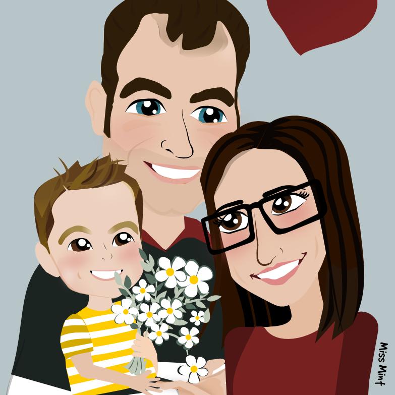 retrato familiar ilustrado miss mint. regalos personalizados