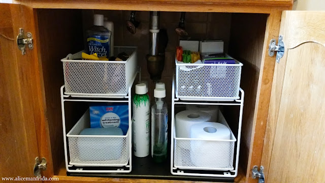 bathroom tour, storage, organization, home decor, cabinet, The Container Store, sliding drawer, under sink storage