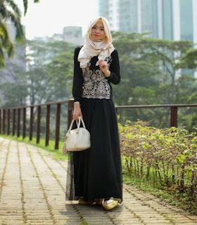 Contoh Baju Muslim Bahan Brokat Terbaru