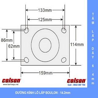 kích thước Bánh xe xoay có khóa chịu lực 675kg Colson 8 inch | 6-8299-939BRK1 www.banhxeday.xyz sử dụng ổ đũa