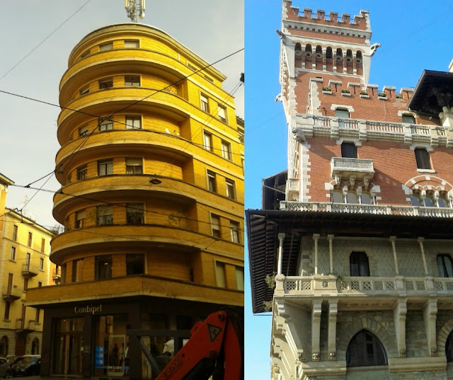 Palazzi milanesi con stili architettonici diversi