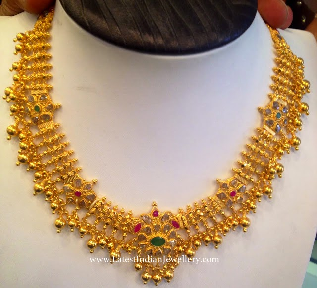 uncut diamond gold necklace