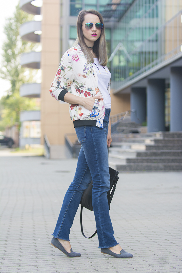 floral birds bomber jacket diy frayed jeans