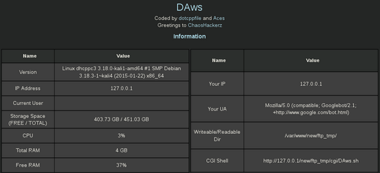 DAWS - Advanced Web Shell For Windows And Linux - Hackers