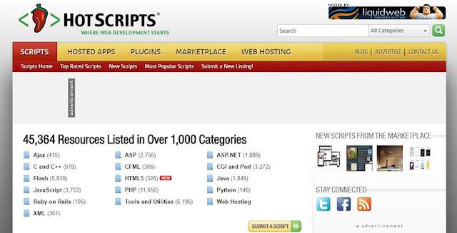 موقع Hot Script هو موقع مختص في تقديم سكربتات مدفوعة أو مجانية للمبرمج