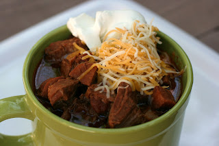Meat Lover's Chili Recipe: there's NO beans in this one! Stew meat, smoked andouille sausage, tomatoes, garlic, onion, cumin