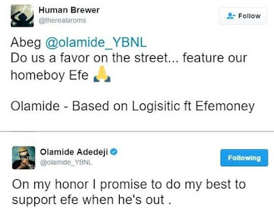 Based on Logistics: Olamide promises to support Efe's music career