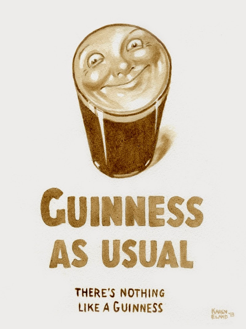 07-Guinness-Smiling-Pint-Karen Eland-Vintage-Looking-Beer-and-Water-Paintings-www-designstack-co