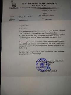 surat rekomendasi dprd kota cirebon soal ppdb tanpa rapim