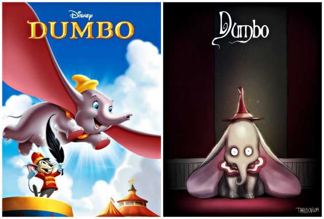 Illustrator Andrew Tarusov redesigns  Disney's classic movie character Dumbo  into Tim Burton's dark gothic style via geniushowto.blogspot.com Illustrations 6