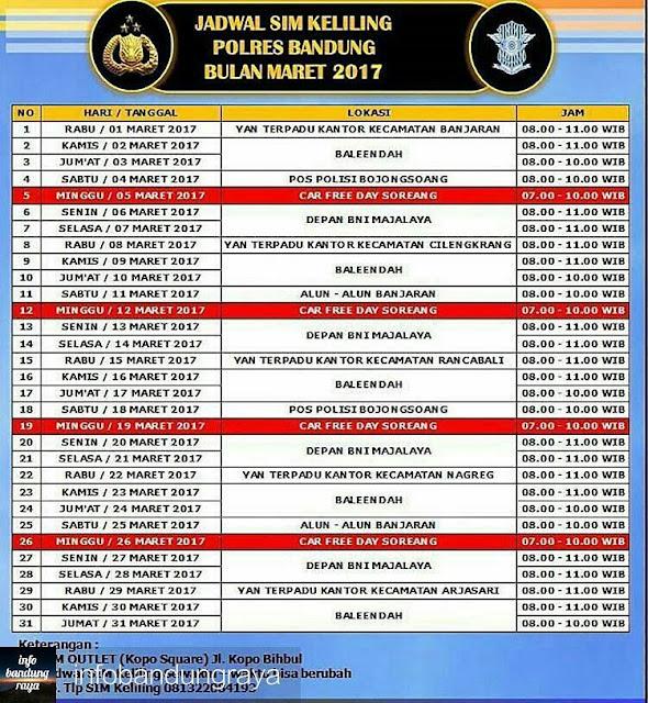 Jadwal Pelayanan SIM dan SKCK Keliling Polres Bandung (Wilayah Kabupaten Bandung) Maret 2017