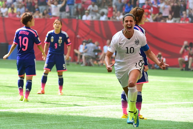 Carli Lloyd reacts after kicking her second goal