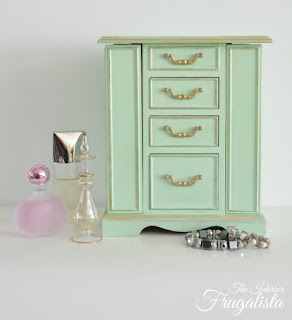 Thrift store jewelry box painted Mint green