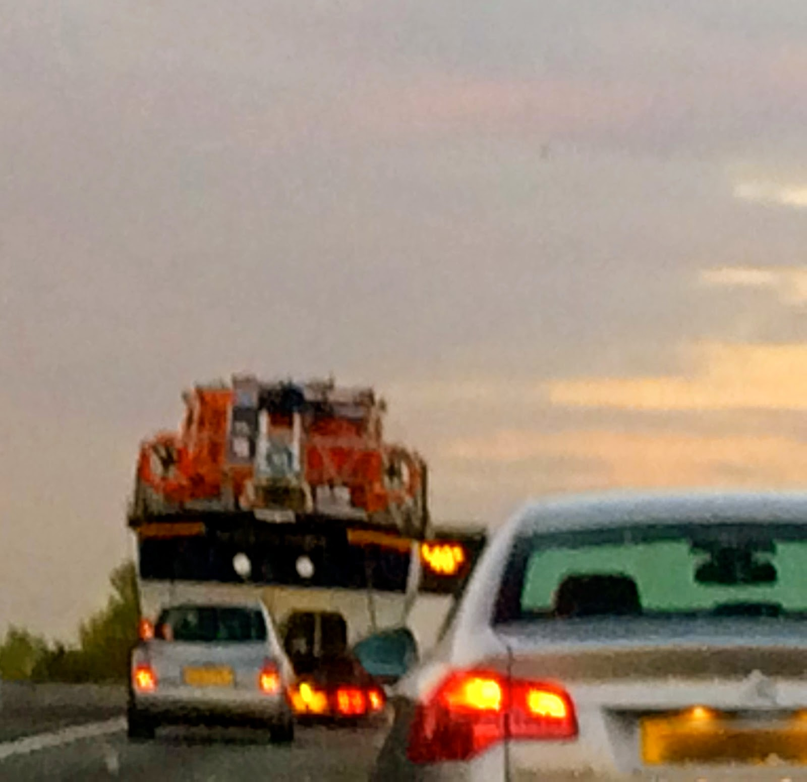 lifeboat in traffic jam on M3, UK