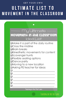 Are you looking for ways to include more movement in your classroom? Try these easy to manage, but totally worth it tips!  Includes a FREE idea list!