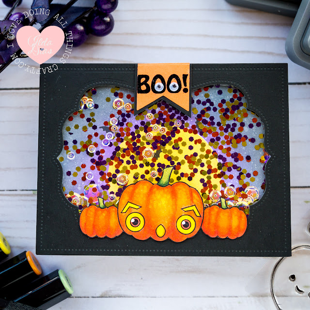 A Pumpkin Boo Shaker Card by ilovedoingallthingscrafty for Ink On 3