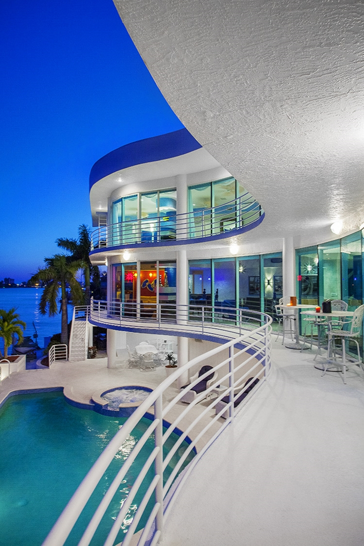 Balconies of Modern villa in Tampa Bay at sunset