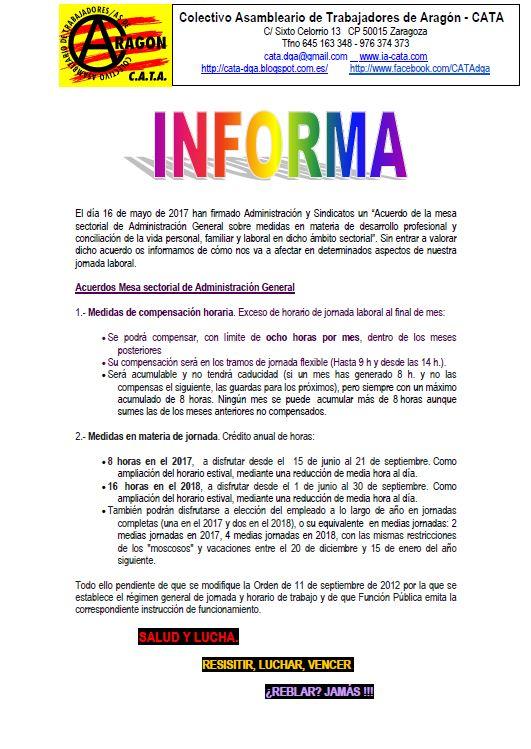 CATA Informa Acuerdo Admón Sindicatos 16 mayo 2017