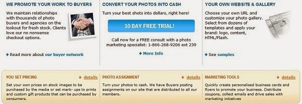 Informações de vendas de fotos no Photostockplus