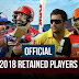 IPL 2018 Retained Players List and Price