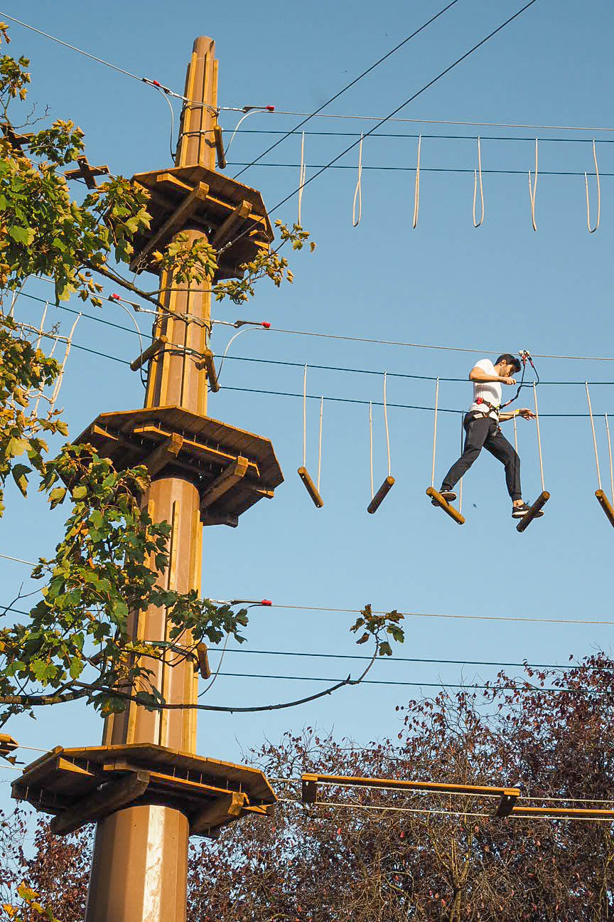People on the Go Ape at Alexandra Palace