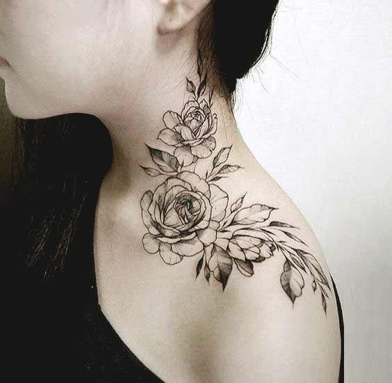 Shoulder Collarbone Flower Tattoo