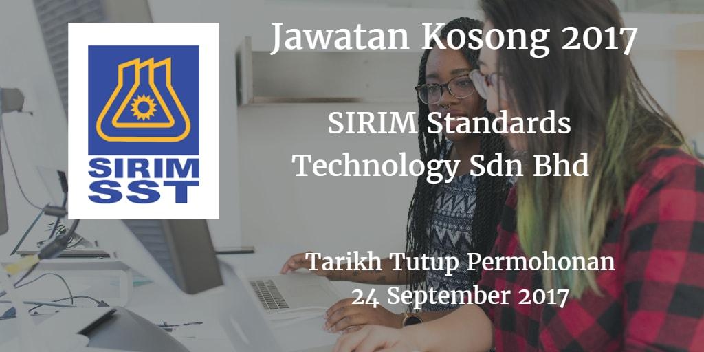 Jawatan Kosong SIRIM Standards Technology Sdn Bhd  24 September 2017