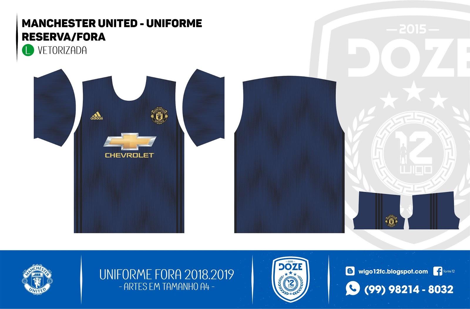 Fontes Camisas de Futebol  Uniforme Manchester United 2018-2019 a57aad7f4ac6d