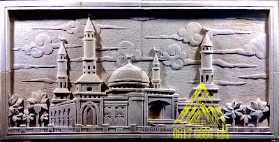 Relief batu paras jogja, paras putih motif masjid