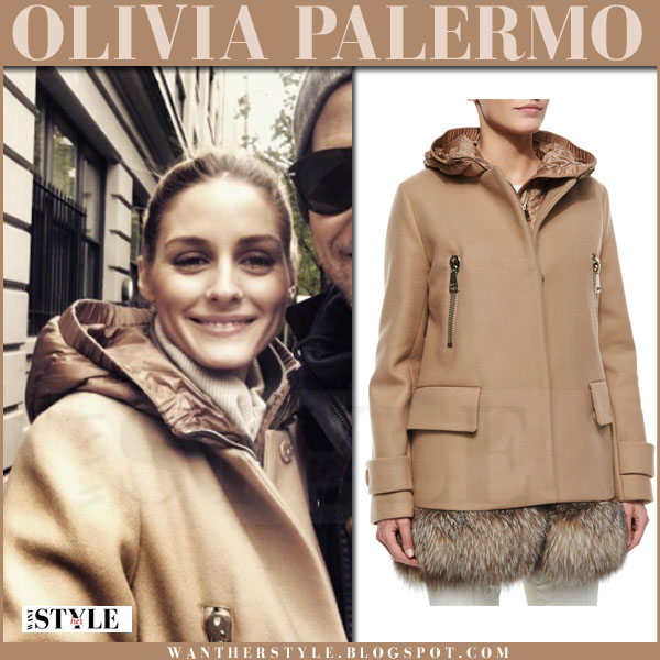 Olivia Palermo in camel hooded coat moncler fenelon what she wore streetstyle