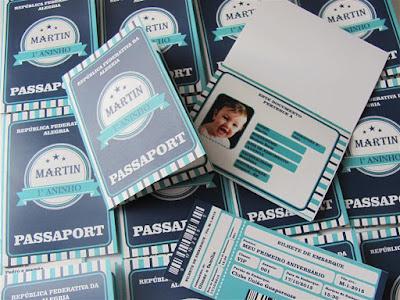 convite passaport primeiro aninho