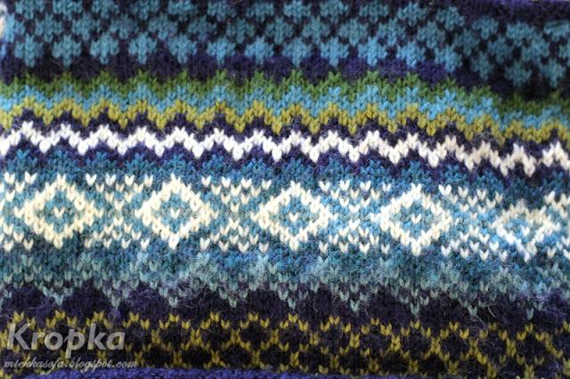 Wzór żakardowy w odcieniach granatowego, niebieskiego, zielonego i białego