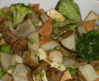 Roasted Potatoes and Broccoli with Garlic