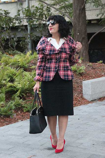 L.A.M.B. Plaid Coat and Escada Pencil Skirt Work Outfit | Will Bake for Shoes