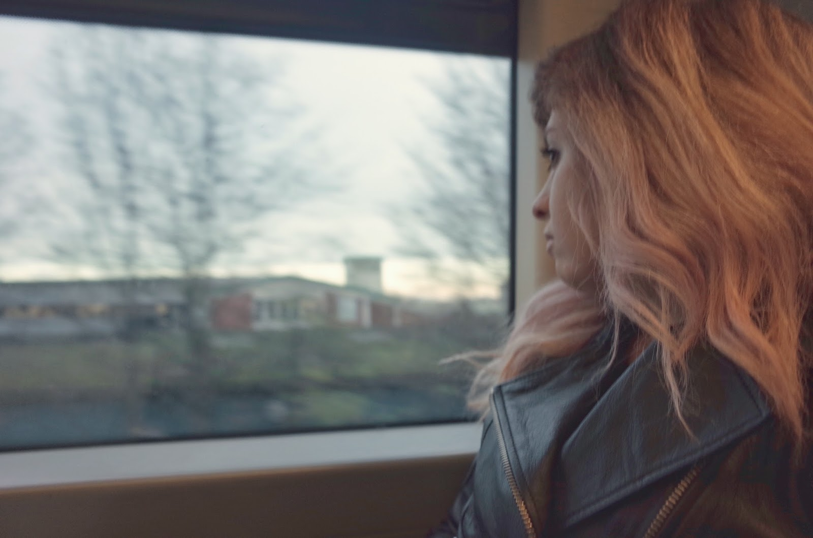 blogger francesca sophia from francescasophia.co.uk stares out of a train window