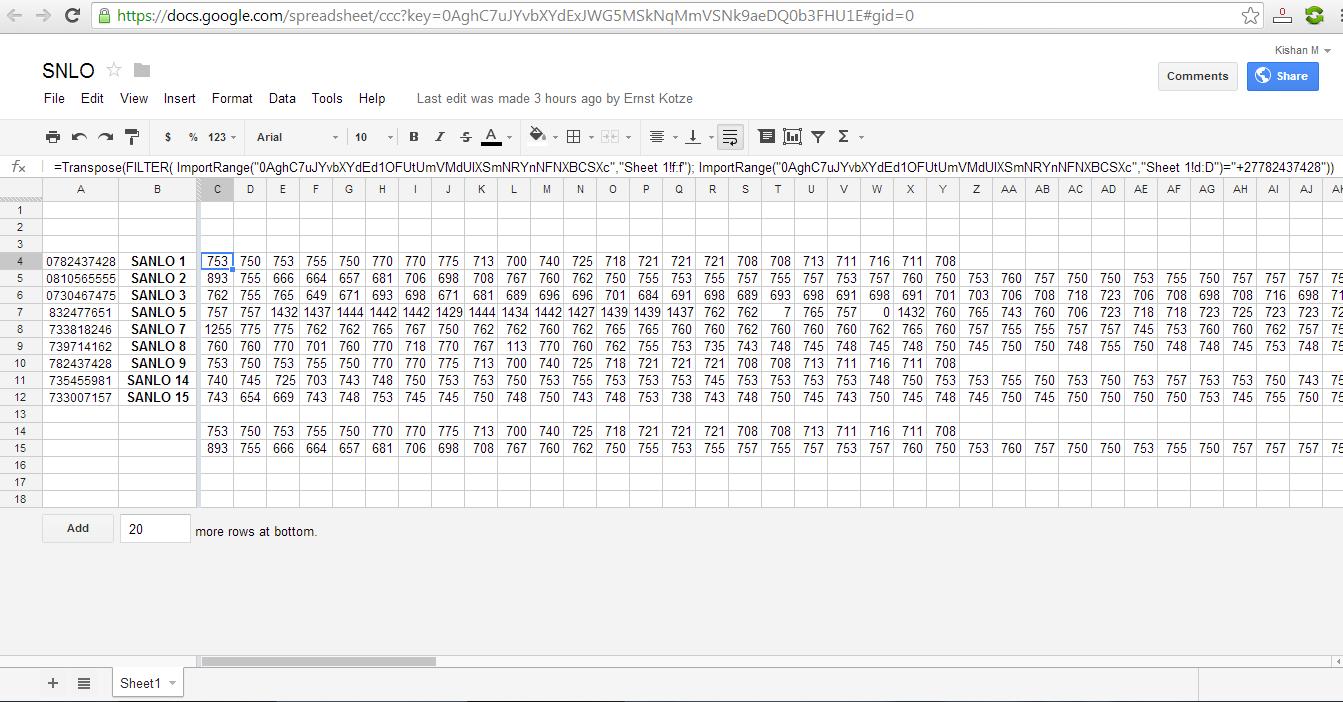 iGoogleDrive: Google Spreadsheet ImportRange In Reverse Order
