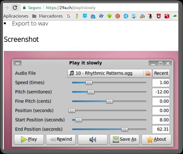 Bajar o Subir el tono(cambiar / pitch shift) de una canción en Ubuntu con playitslowly para Karaoke
