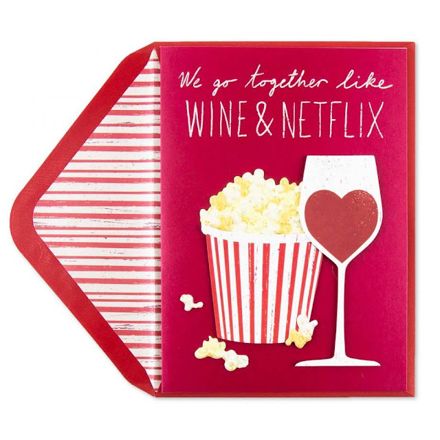 Food-Themed Valentine's Day Cards -- Wine and Popcorn