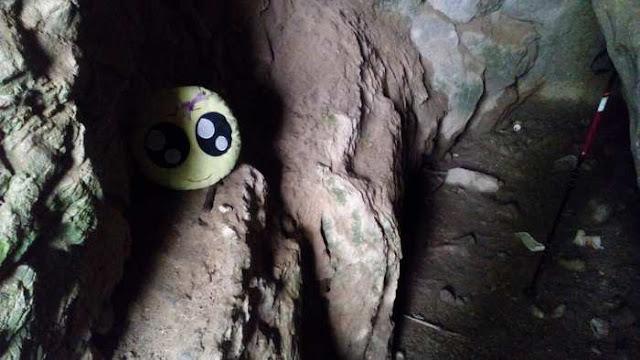 Mini-Fu posando en la entrada de una cueva