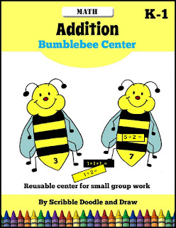 Interactive bumblebee addition center activity for kindergarten