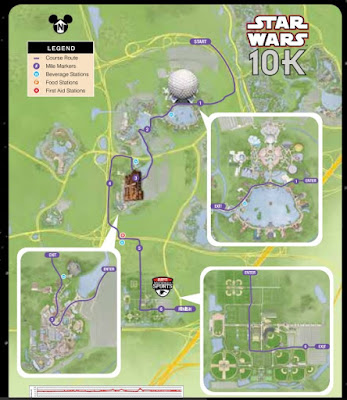 map of Star Wars 10k running race course