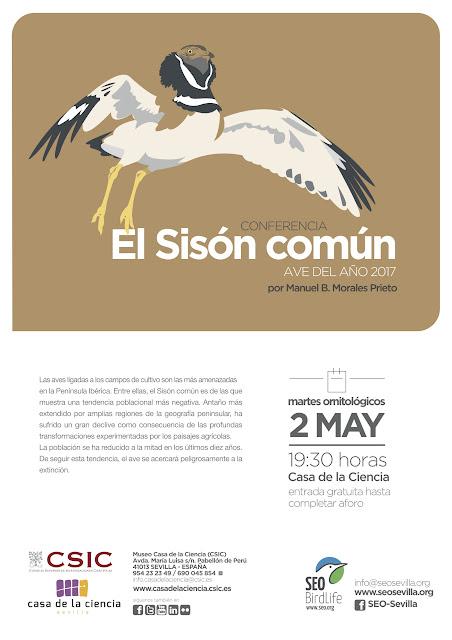 Conferencia: El Sisón común, ave del año 2017. Por Manuel B. Morales Prieto, 2 de Mayo 2017. Grupo Local SEO-Sevilla.
