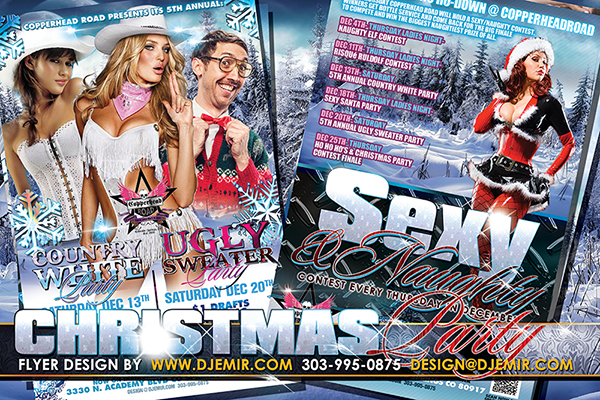 Country White Christmas Party, Ugly Sweater Party and Sexy Santa Christmas Party Combo Flyer design