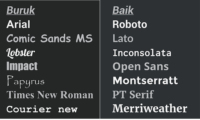 Jenis Font Terbaik Untuk Desain Website Atau Blog