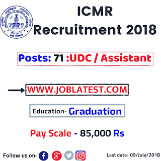 ICMR  Recruitment 2018 - 71 Govt Jobs for graduation pass with notification and apply online