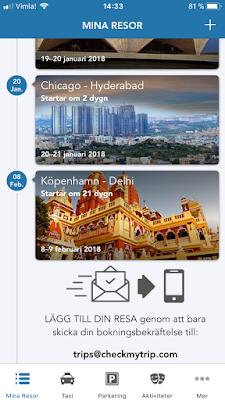 Sedan kan du kontrollera flygnummer, platsuppgifter, flygplatsportar, incheckningstider, resvägsförändringar och mer.