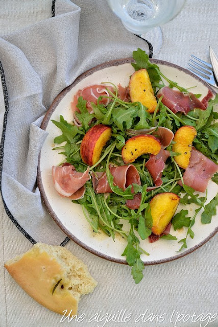 Peaches and speck with orange blossom