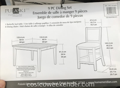 Dimensions of the Pulaski Furniture 9pc Counter Height Dining Set