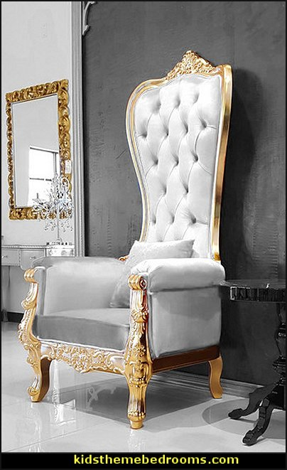 Gold Baroque Hand Carved Throne Chair heaven themed bedroom furniture