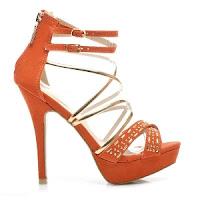 Sandale elegante cu toc inalt si platforma, portocaliu cu auriu ( )
